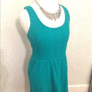 LOFT eyelet turquoise dress with pockets